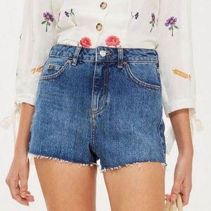 Topshop Moto Mom Blue High Waisted Jean Shorts
